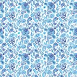 Blue Ethnic Paisley Ornament Pattern Royalty Free Stock Photo