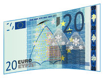 Blue euro cash. Cash of euro with number 20 on a white background Royalty Free Stock Images