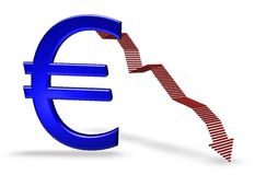 Blue euro falling. Euro falling  isolated over white background with shadow (euro Sign Clipart Profits down Royalty Free Stock Photos