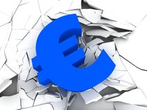Blue euro sign Royalty Free Stock Images