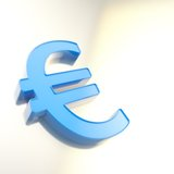 Blue euro symbol on chrome surface as background Royalty Free Stock Photography