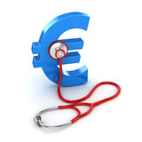 Blue Euro Symbol and Red Stethoscope Stock Photo