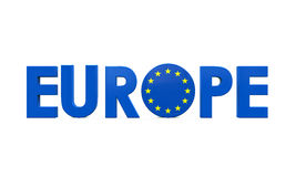 Blue Europe Text Stock Photo