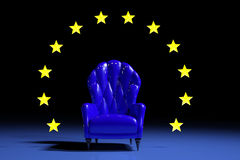 Blue european armchair. On black background with stars Stock Photo