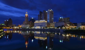 Blue evening in columbus. Photograph of the columbus sky line and the Scioto mile Royalty Free Stock Photos