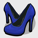 Blue evening shoes with high heel Stock Photography