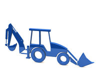 Blue excavator. 3d illustration of blue excavator Stock Photo
