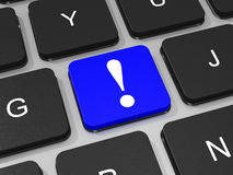 Blue Exclamation mark key on keyboard of laptop computer. Stock Photography