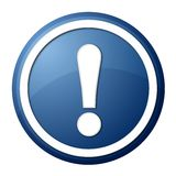 Blue exclamation point button. Round button with white ring for web design and pressentation Stock Photos