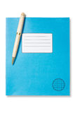 Blue exercise book and pen Royalty Free Stock Images