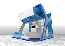 Blue exhibition stand Stock Photos