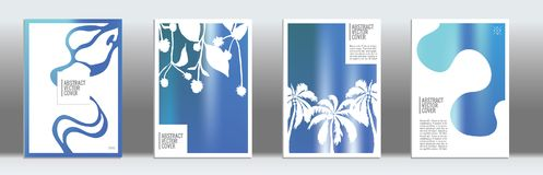 Blue Exotic Cover Set. Royalty Free Stock Photos