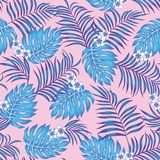 Blue exotic leaves plumeria flowers seamless pink background vector illustration