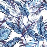 Blue exotic leaves seamless white background stock illustration