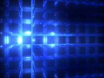 Blue Explosion. Energy explosion behind cube grid Stock Photos