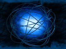 Blue explosion. Dark blue smoke inside shiny rings on grungy background Royalty Free Stock Photos