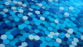 Blue extruded hexagons mosaic 3D render. Blue extruded hexagons mosaic. Abstract geometric background. Modern 3D render illustration Royalty Free Stock Photos