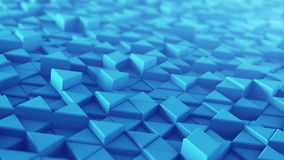 Blue extruded triangles techno 3D render. Blue extruded triangles. Abstract technology background with geometric elements. 3D render illustration Royalty Free Stock Photography