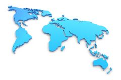 Blue extruded world map Royalty Free Stock Photos