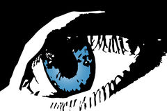 Blue eye. Illustration of a blue eye in black and blue Stock Photos