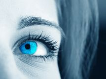 Blue eye. Beautiful blue eye close-up royalty free stock photos