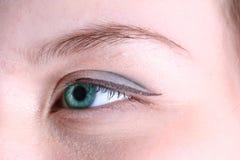 Blue eye. Long skin beautiful blue macro eye closeup Stock Photography