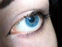 Blue eye. Looking on something Stock Image