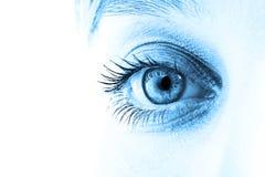 Blue eye. Eye and blue tone face close-up. Shallow DOF Royalty Free Stock Photo