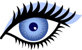Blue Eye. Stylized Illustration of a woman's blue eye with blue eye shadow Royalty Free Stock Image