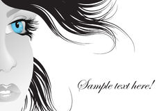 Blue eye. An illustration of a black and white woman with blue eyes Royalty Free Stock Photos