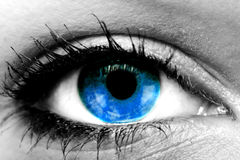 Blue eye. Blue color eye of a woman Royalty Free Stock Image