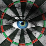 Blue Eye And Dartboard Stock Photography