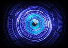 Blue eye ball abstract cyber future technology. Concept background, illustration stock images