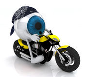 Blue eye ball with arms and legs on the motorbike Royalty Free Stock Photo
