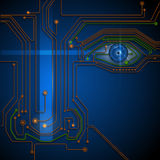 Blue eye circuit  technology background. Circuit board- blue eye technology conceptual background Stock Photos