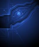 Blue eye circuit  technology background Royalty Free Stock Image