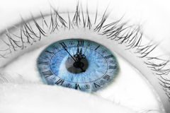 Blue eye with clock Royalty Free Stock Image