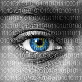 Blue eye extreme close up and binary numbers Stock Photography