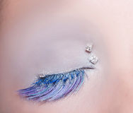 Blue eye fashion makeup winter feather Royalty Free Stock Photo