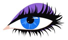 Blue eye. Female blue eye with long black eyelashes and purple eyeshadows, vector illustration Royalty Free Stock Image