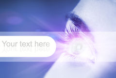 Blue eye with glow effect. On it (shallow DoF Royalty Free Stock Photo