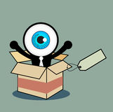 The blue eye happy in gift box Royalty Free Stock Image