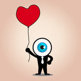 The blue eye hold red heart balloon