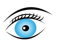 Blue eye icon. Blue pure eye with eyelash and eyebrow on white background, vector eye icon Royalty Free Stock Image