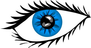 Blue Eye with lashes. Illustration of a Blue Eye with lashes Royalty Free Stock Images