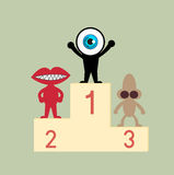 The blue eye leader on first podium Royalty Free Stock Photography