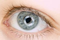 Blue eye in macro. Extreme detail Royalty Free Stock Photography