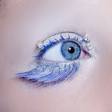 Blue eye macro closeup winter makeup Stock Photo