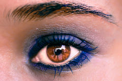 Blue Eye Makeup. Beautiful Eyes Make-up. Macro Royalty Free Stock Photography