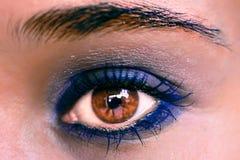 Blue Eye Makeup. Beautiful Eyes Make-up. Macro Royalty Free Stock Photography
